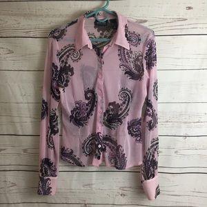 New York and company sheer long sleeve shirt
